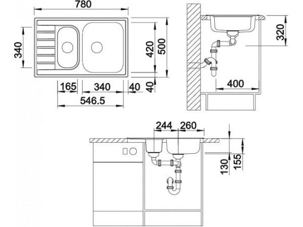 Мойка Blanco Livit 6 S compact Сталь декор