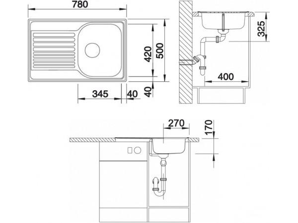 Мойка Blanco Tipo 45 S compact Cталь полированная