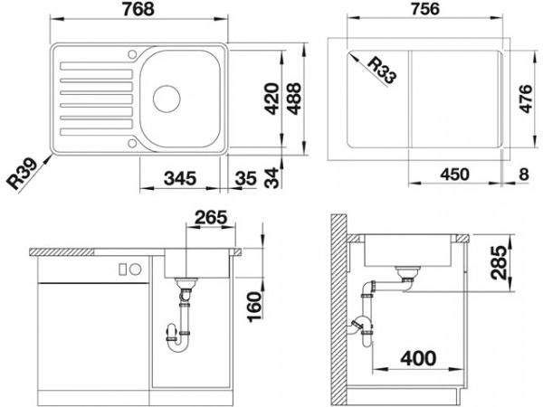 blanco lantos 45 s if compact c. Black Bedroom Furniture Sets. Home Design Ideas